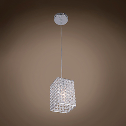 1 Light Square Shape Crystal Mini Pendant Light in Chrome Finish with Crystal - 231715