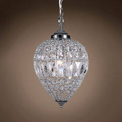 1 Light Beaded Crystal Mini Pendant Light in Chrome Finish with Clear Crystal - 231718