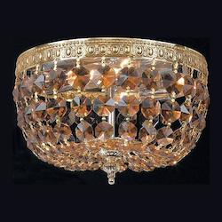 Crystorama Two Light Aged Brass Golden Teak Swarovski Elements Glass Bowl Flush Mount