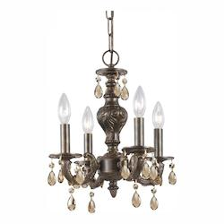 Crystorama Four Light Venetian Bronze Golden Teak Swarovski Elements Glass Up Chandelier