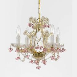 Crystorama Gold / Rosa Hand Polished Maria Theresa 4 Light Candle Style Crystal Chandelier