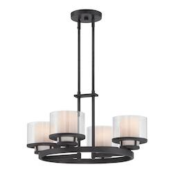 Designers Fountain Biscayne Bronze Fusion 4 Light 1 Tier Chandelier - 23.5in. Wide