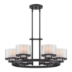 Designers Fountain Biscayne Bronze Fusion 6 Light 1 Tier Chandelier - 27.5in. Wide