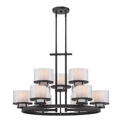 Designers Fountain Biscayne Bronze Fusion 9 Light 2 Tier Chandelier - 31.75in. Wide