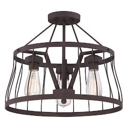 Designers Fountain Bronze Brooklyn 3 Light Semi-Flush Ceiling Fixture