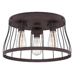 Designers Fountain Open Box Bronze Brooklyn 3 Light Flush Mount Ceiling Fixture