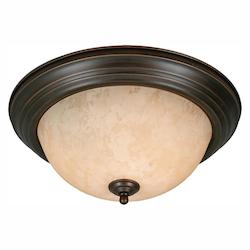 Golden Rubbed Bronze Three Light Flush Mount Ceiling Fixture
