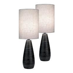 Lite Source Inc. 2 Pack-Mini Table Lamp, Brushed D.Brz/Linen Shade, Cfl 13Wx2