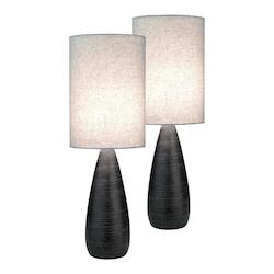 Lite Source Inc. #2 Pack-Table Lamp, Brushed D.Brz/Linen Shade, E27 Cfl 13Wx2