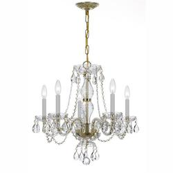 Crystorama Polished Brass Traditional Crystal 5 Light Single Tier Chandelier