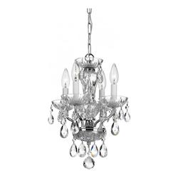 Crystorama Traditional 4 Light Chrome Hand Cut Crystal Mini Chandelier