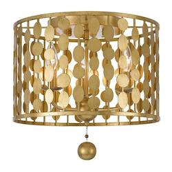 Crystorama Antique Gold Layla 3 Light Flush Mount Ceiling Fixture