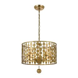 Crystorama Antique Gold Layla 5 Light Single Tier Chandelier