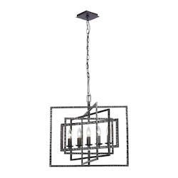 Crystorama Raw Steel Capri 5 Light Single Tier Linear Chandelier