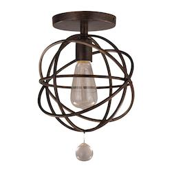 Crystorama English Bronze Solaris 1 Light Wrought Iron Pendant with Glass Jewel Accent