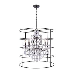 Crystorama Vibrant Bronze Filmore 5 Light 2 Tier Chandelier