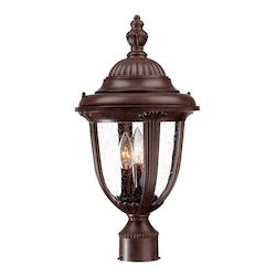 Acclaim Lighting Three Light Burled Walnut Post Light