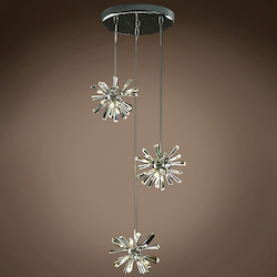 12 Light Adjustable Hanging Pendant Light in Chrome Finish with Clear Crystal - 249555