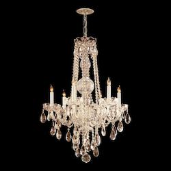 Crystorama Six Light Polished Brass Clear Hand Cut Glass Up Chandelier