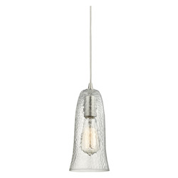 ELK Lighting Hammered Glass 1 Light Pendant In Satin Nickel