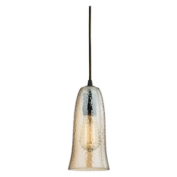ELK Lighting Hammered Glass 1 Light Pendant In Oil Rubbed Bronze