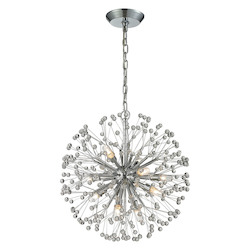 ELK Lighting Starburst 9 Light Chandelier In Polished Chrome