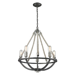 ELK Lighting Natural Rope 5 Light Chandelier In Silvered Graphite/ Polished Nickel Accents