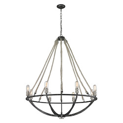ELK Lighting Natural Rope 8 Light Chandelier In Silvered Graphite/ Polished Nickel Accents