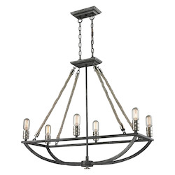 ELK Lighting Natural Rope 6 Light Chandelier In Silvered Graphite/ Polished Nickel Accents