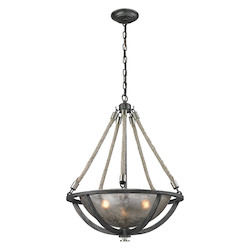 ELK Lighting Natural Rope 3 Light Pendant In Silvered Graphite/ Polished Nickel Accents