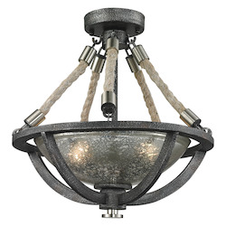 ELK Lighting Natural Rope 2 Light Pendant In Silvered Graphite/ Polished Nickel Accents