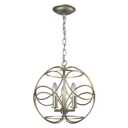 ELK Lighting Chandette 3 Light Pendant In Aged Silver