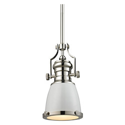 ELK Lighting Chadwick 1 Light Pendant In Gloss White/ Polished Nickel