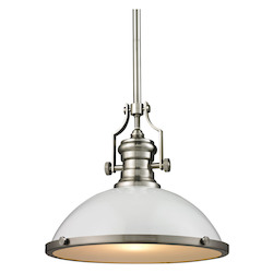 ELK Lighting Chadwick 1 Light Pendant In Gloss White/ Satin Nickel