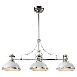ELK Lighting Chadwick 3 Light Island In Gloss White/ Polished Nickel