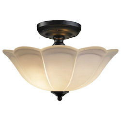 ELK Lighting 3 Light Semi Flush In Matte Black