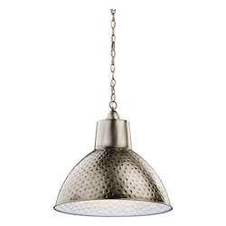 Kichler Antique Pewter Missoula Pendant Light With Hammered Metal Shade - 18In. Wide