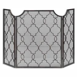 Uttermost Heavily Antiqued Silver Champagne Charlie Fireplace Screen