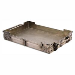 Uttermost Heavily Burnished Silver Champagne Maja Decorative Tray
