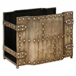 Uttermost Heavily Burnished Silver Champagne Maja Magazine Rack