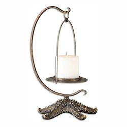 Uttermost Heavily Antiqued Gold Starfish Candle Holder