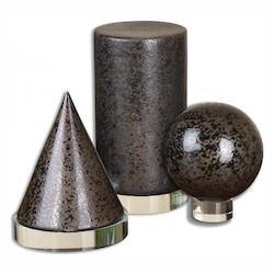 Uttermost Gloss Black With Bronze Geometric Shapes Sculptural Object - 3 Piece Set