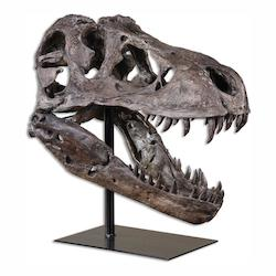 Uttermost Chestnut Brown With Heavy Gray Glaze Tyrannosaurus Sculptural Object