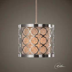 Uttermost Brushed Nickel Harwich 9In. Wide 1 Light Mini Drum Pendant With Dual Shade