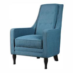 Uttermost Peacock Blue Katana Fabric Chair Designed By Jim Parsons