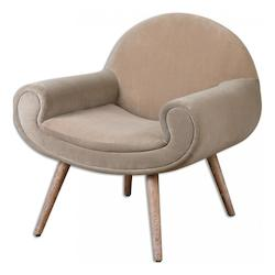 Uttermost Putty Hued Velvet Kavita Fabric Chair Designed By Jim Parsons