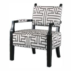 Uttermost Off White With Dark Gray Terica Fabric Chair Designed By Carolyn Kinder