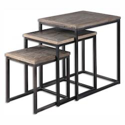 Uttermost Dark Iron With Recycled Elm Wood Bomani Iron Stand Designed By Jim Parsons