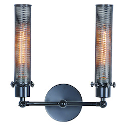 Urban Classic Black Nelson 11.5in. Wide 2 Light Wall Sconce from the Urban Classics Collection