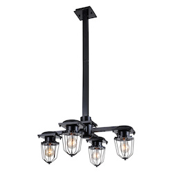 Urban Classic Black Kingston 23.5in. Wide 4 Light Pendant from the Urban Classics Collection
